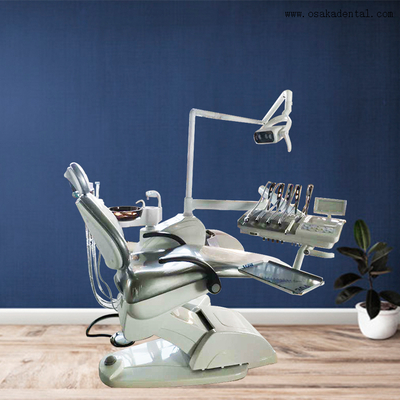 Dental chair with LED lamp with top mounted tray